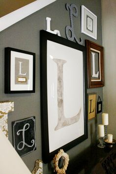 how cute for a wall, different sizes, shapes, framed, not framed different colors last name intial