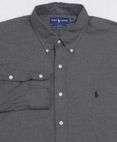 25bd5ccb NWT-Mens-RALPH-LAUREN-Long-Sleeve-Shirt-XL-Gray-BLAKE-100-TWO-PLY-Cotton- Polo