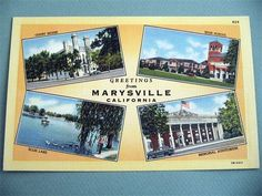 Greetings from MARYSVILLE CALIFORNIA CA Linen Postcard Four Views