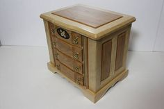 Large Jewelry Box Walnut and Maple with Swing Out Sides for