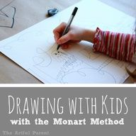 Drawing with Kids with the Monart Method -- Getting started  I am a big believer that young children should not be 'taught' to draw but I think once kids hit school age teaching them drawing techniques is useful and appropriate. So I loved this post from the always amazing Jean