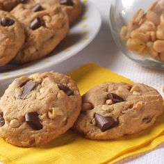Peanut Butter Chocolate Chunk Cookies--made something similar to these tonight and can I just say, YUM.