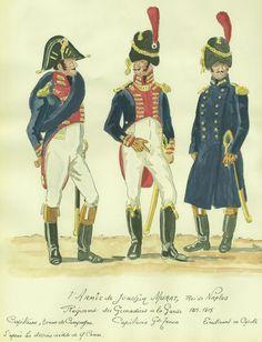 Naples; Royal Guard, grenadier Regiment, Captain, Tenue de Campagne, Captain, Grande Tenue & Lieutenant in capote, 1813-15 by H.Boisselier