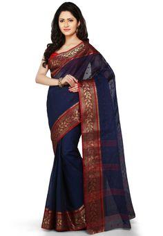Buy Dark Blue Cotton Tant Bengal Handloom Saree with Blouse online, work: Hand Woven, color: Dark Blue, usage: Festival, category: Sarees, fabric: Cotton, price: $43.50, item code: SFC243, gender: women, brand: Utsav