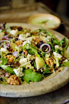 Pear, walnut, and blue cheese salad..