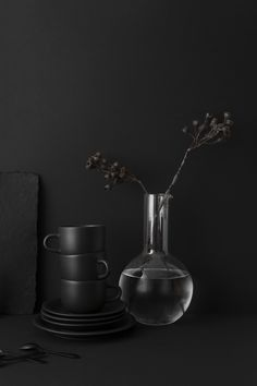 A small collection of organic ceramics curated by VKV Visuals 2018 Interior Trends, Pantone, Organic Ceramics, Catty Noir, Yennefer Of Vengerberg, Black And White Aesthetic, Black Kitchens, Kitchen Black, Dark Interiors