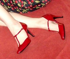 Red High Heel Mary Janes