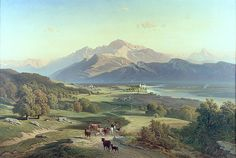 Josef Mayburger - Drover on Horseback with his Cattle in a Mountainous Landscape with Schloss Anif Salzburg and beyond