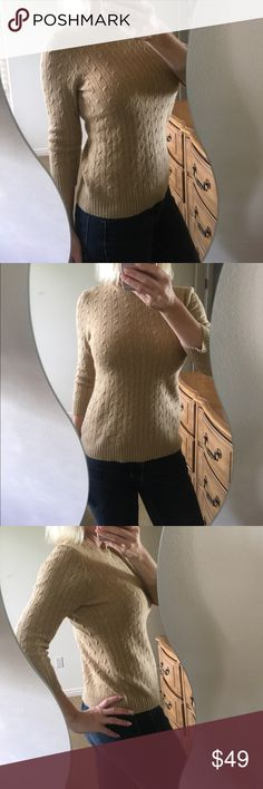 ✨J. Crew Gold Cable Knit Cashmere Blend Sweater✨ Beautiful, super comfy and classy J.Crew gold cable knit sweater! 86% cashmere so it's lovely and soft. 3/4 length sleeves, crew neck, button detail on shoulder, shimmery gold threads throughout. I'm excellent condition!❤️ J. Crew Sweaters Crew & Scoop Necks