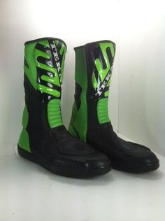 TEKNIC MOTORCYCLE BOOTS Green & Black SIZE 12