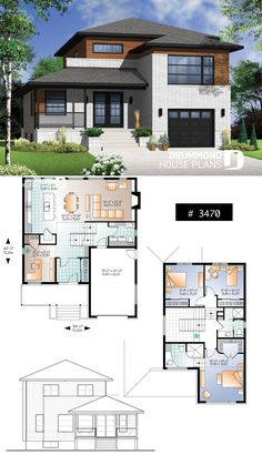 Modern Four Bedroom House Plans Awesome Modern Home Plan Master Suite 4 Bedrooms 3 Bathrooms Modern House Floor Plans, Sims House Plans, New House Plans, Duplex Floor Plans, Contemporary Cottage, Contemporary House Plans, Bungalow House Design, Modern House Design, Modern Houses