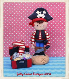 Pirate Boy with treasure chest by jelly beads, via Flickr.