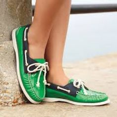 Gently used green leather sperry boat shoes! Barely worn sperrys - look brand new- have some creasing on the leather(normal for leather sperrys) price flexible Sperry Shoes