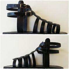 Black Leather Gladiator Sandals Men Leather Greek by Leatherhood