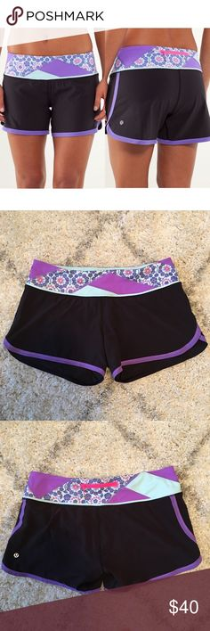 "🍋 Lululemon Groovy Run Short Lululemon Groovy Run Short in Power Purple/Twiggy Print.  ·         Continuous drawcord ·         Back zip pocket ·         Inner liner ·         Wide Luxtreme waistband ·         4.5"" inseam  Lightly worn and washed. No stains, holes, or pilling. Rip tag still attached. However NOTE: small irregularity in the stitching along two parts of the back bottom trim (see last photo) – not noticeable. In great, pre-owned condition. Bundle & save 💰! Sorry - 🚫 trades…"