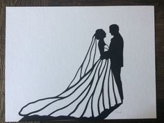 "11 by 14"" Custom Hand-Cut Wedding Silhouette Art - First Anniversary Gift"