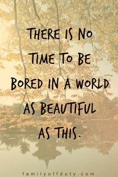 """travel quotes inspirational for the wanderlust family - """"There is no time to be bored in a world as beautiful as this."""" quotes wanderlust Family Travel Quotes - 31 Inspiring Family Vacation Quotes To Read In 2020 Family Vacation Quotes, Family Travel, Family Quotes, Baby Travel, Travel Party, Wanderlust Quotes, Wanderlust Travel, Quotes To Live By, Life Quotes"""