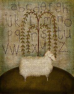 Primitive folk art picture ... Beth Albert