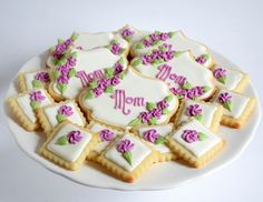 Happy Mother's Day! #melissagracedesserts #dessert #baking #cookies #decorating #mothersday #happymothersday #mom #purple #flowers #pretty #yummy Baking Cookies, Happy Mothers Day, Purple Flowers, Decorating, Mom, Pretty, Instagram Posts, Desserts, Decor