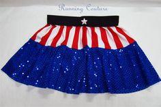 Captain America Avengers inspired Sparkle Running Misses Tier skirt on Etsy, $33.95