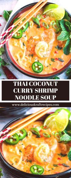 #coconut #shrimp #noodle #curry #thai #soup THAI COCONUT CURRY SHRIMP NOODLE SOUPYou can find Curry shrimp and more on our website.THAI COCONUT CURRY SHRIMP NOODLE SOUP Thai Shrimp Soup, Prawn Soup, Coconut Curry Shrimp, Shrimp Noodles, Coconut Curry Soup, Seafood Soup, Shrimp Curry, Thai Soup, Coconut Milk