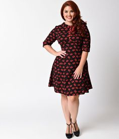 10dffa94ec931f Hell Bunny Plus Size 1950s Style Black & Red Kiss Me Deadly Flare Dress  Rockabilly Outfits