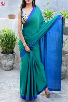 Buy Green Blue Crepe Chiffon Double Shaded Saree - Sarees Online in India Lace Saree, Crepe Saree, Satin Saree, Saree Dress, Saree Blouse Patterns, Saree Blouse Designs, Crochet Braids, Sarees For Girls, Simple Sarees