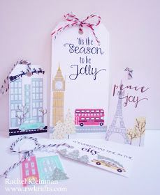 Colorful vintage-esque Papertrey Ink stamped city scene holiday Christmas tags and cards