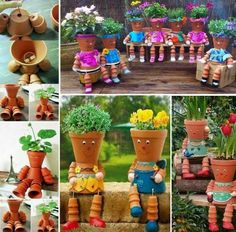 Flower pot people Picture tute here:  http://www.usefuldiy.com/diy-flowerpot-villain/