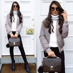 Get this look: http://lb.nu/look/8125528 More looks by FASHIONBYMNP .: http://lb.nu/fashionbymnp Items in this look: New Look Bomber Jacket, New Look Chunky Knit, Louis Vuitton Pochette Metis, Prada Retro Sunglasses