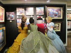 Four beautiful princesses checking out the art in the gallery on the Disney Dream!   Click the pic for more info!  www.diannehowcraftandassociates.com