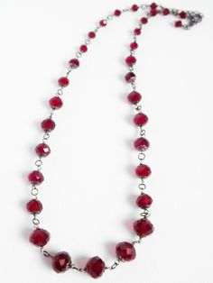 Red crystal glass faceted necklace .. dark glam prom bridal bead jewellery