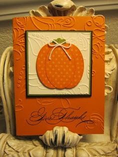 Fall-Thanksgiving card in Pumpkin Pie, Basic Black, Old Olive and Very Vanilla. oval punch used to make pumpkin. Elegant Lines embossing folder. Clear embossing at the sentiment Card Tags, Pumpkin Cards, Holiday Cards, Handmade Thanksgiving Cards, Family Thanksgiving, Handmade Halloween Cards, Thanksgiving Greeting Cards, Thanksgiving Punch, Packaging