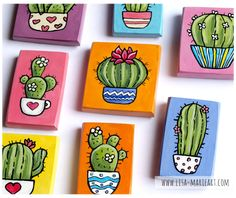 Small Canvas Paintings, Small Canvas Art, Mini Canvas Art, Mini Paintings, Cactus Drawing, Cactus Painting, Cactus Art, Acrylic Art, Acrylic Painting Canvas