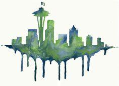 Seattle Skyline/ 12th Man/ Seattle Seahawks by BestDayEverStudio, $95.00