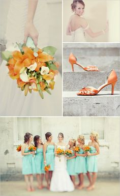 mint green and orange wedding theme, perfect! Just need one girl in orange and the guys in gray!!