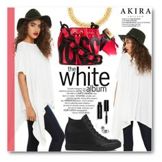 """White"" by pokadoll ❤ liked on Polyvore featuring Akira, Yves Saint Laurent, Moschino, Converse, Bobbi Brown Cosmetics and shopakira"