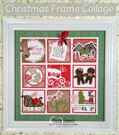 Christmas 3x3 framed collage featuring Stampin Up stamps, paper, ink. Cookie Cutter Christmas bundle, Santa's Sleigh Bundle, Greetings from Santa/Detailed Santa bundle.