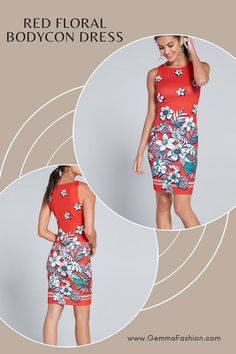 💥 RED FLORAL BODYCON DRESS Go bold in unique, pop-art-inspired florals! This sexy silhouette proudly flaunts your figure while blending fun, tropical graphics with sophisticated sheath styling. #Fashion #casualdress #outfit #womenswear #womensclothing #clothing #clothes #shoppingonline #chic #apparel #shopping #dresstoimpress