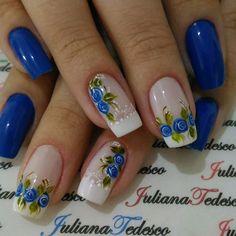 Blue Acrylic Nails, Glitter Nail Art, Blue Nails, Blue Nail Designs, Flower Nails, Beautiful Nail Art, Nail Tutorials, Pretty Nails, Nail Polish