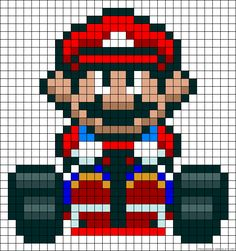 Hama beads Mario go kart biby creations Couture tutorial pyssla Pearler Bead Patterns, Kandi Patterns, Alpha Patterns, Perler Patterns, Beading Patterns, Perler Bead Designs, Hama Beads Mario, Perler Beads, Beaded Cross Stitch