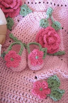 Ring Around the Rosie Crocheted Baby Blanket, Hat and Slippers PDF Pattern. $7.95, via Etsy.