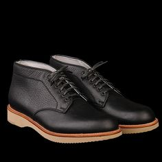 Alden Laguna Six Eye Chukka in Black Bison Alden has manufactured superior shoes for men for over 120 years and is dedicated to the highest standards in men shoe-making.