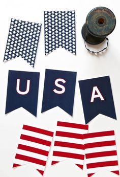 Free Printable USA Banner for the Fourth of July via - Home Renovating Do It Yourself - Planejamento de Eventos Fourth Of July Decor, 4th Of July Celebration, 4th Of July Decorations, 4th Of July Party, July 4th, Usa Party, Patriotic Crafts, July Crafts, Patriotic Party