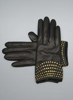 Stud Embellished Leather Gloves