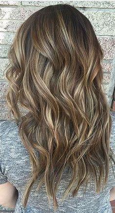 caramel brunette balayage highlights