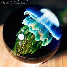 JELLYFISH MARBLE HANDMADE BY ~ETHAN LESCH~ BOROSILICATE, BORO, ART, MIB #Glass