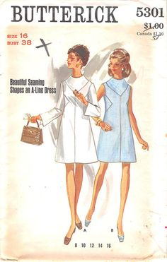 BUTTERICK 5301 - FROM 60S - UNCUT - MISSES ONE-PIECE DRESS