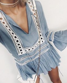 #summer #outfits / boho light blue dress