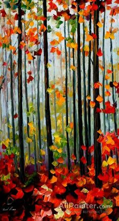 Falling Leafs In The Forest by Leonid Afremov Handmade oil painting reproduction on canvas for sale,We can offer Framed art,Wall Art,Gallery Wrap and Stretched Canvas,Choose from multiple sizes and frames at discount price. Forest Painting, Autumn Painting, Autumn Art, Oil Painting On Canvas, Painting & Drawing, Canvas Art, Forest Art, Tree Art, Painting Inspiration